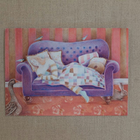 While You Were Sleeping, art card, greetings card, get well soon card