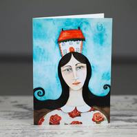 The Housekeeper, art card, greetings card, new home card