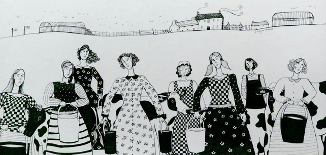 Eight Maids-a-Milking I, original pen and ink drawing