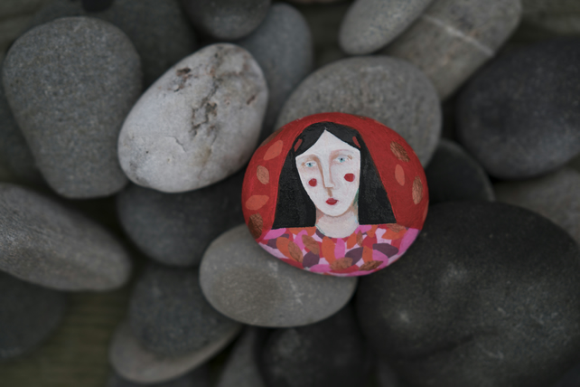 Painted Stone, original art, signed on reverse