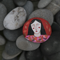 Red Cheeks, Painted Stone, original art, signed on reverse, FREE UK SHIPPING