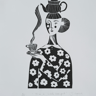I'm a Little Teapot, original artist linocut, FREE UK SHIPPING