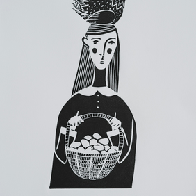 All Her Eggs In One Basket, original artist linocut print, FREE UK SHIPPING