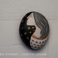 Painted Stone, He Flung The Stars Into Space, pebble art, original painting