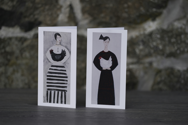 Set of two cards, The Hen Party, from original artwork