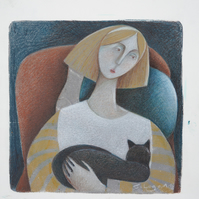 Catnapping Again, original mixed media art, monoprint and coloured pencil