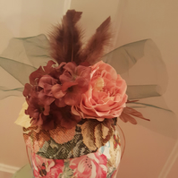 Tapestry of life rose and feather fascinator