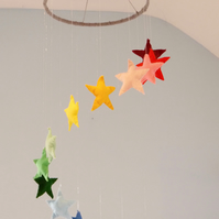 MADE TO ORDER Large Rainbow Felt Star Mobile FREE POSTAGE