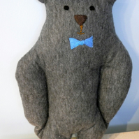 Grey Plush Bow-tie Bear