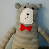 Grey Stripey Bow-tie Bear