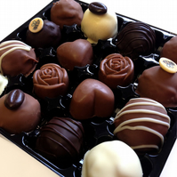 Luxury box of 16 hand-made truffles and filled chocolates made in Bude, Cornwall