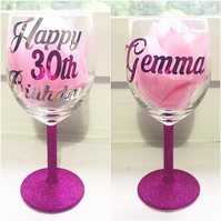 Personalised birthday glitter wine glass gift - 18th 21st 30th 40th 50th 60th