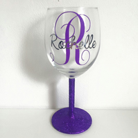 Personalised Initial Monogram Glitter Wine Glass Present Gift For Her
