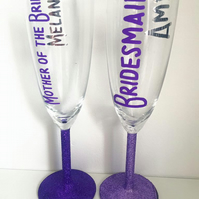 Personalised Wedding Party Role Champagne Glass Bride Groom Bridesmaid Best Man