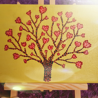 Cosmic Love Valentine Tree of Hearts Box Canvas Painting