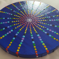 Cosmic Chakra Rainbow Mandala Wheel on Circular Acrylic Canvas