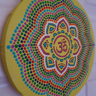 Cosmic Rainbow Wheel Ohm Symbol Painting