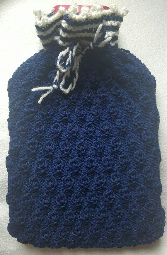 Hand Knitted Hot Water Bottle Cover, hot water bottle cover, handmade cover,