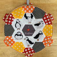 Hexagon patchwork hoop kit - Puffins