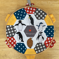 Hexagon patchwork hoop kit - Penguins