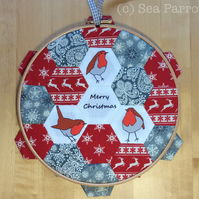 Christmas robin hexie hoop patchwork picture kit