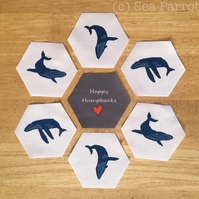 Humpback whale fabric pieces - 7 hexagons