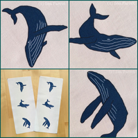 Humpback whale fabric - 6 whales