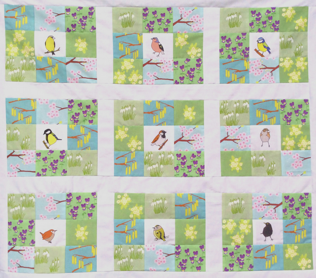 Spring Garden Fabrics, Birds and Flowers - makes 9 patchwork blocks