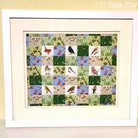 MINI Winter hedgerow birds patchwork kit