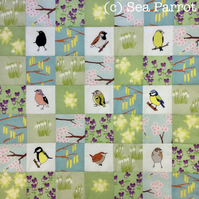 Spring Garden Birds patchwork kit - 49 patches