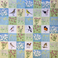 Summer Meadow birds patchwork kit - 49 patches
