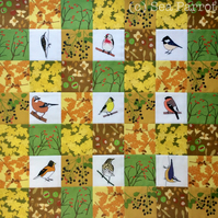 Autumn Woodland bird patchwork kit - 49 patches