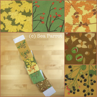 Autumn woodland plant fabric strip