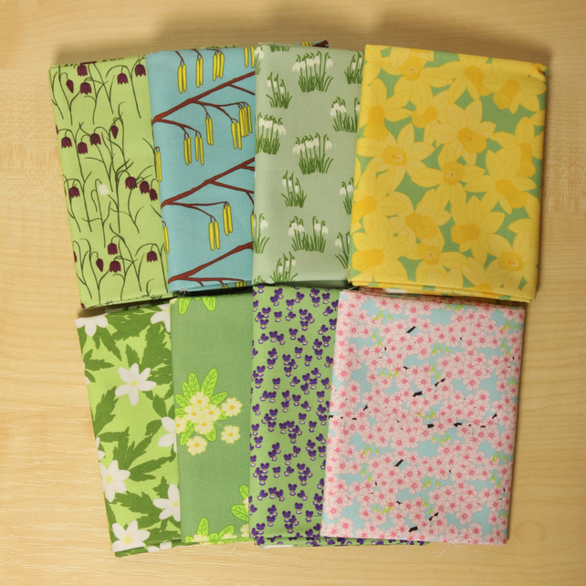 Spring garden flower fat quarter bundle