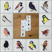 Garden bird fabric strip - 12 birds