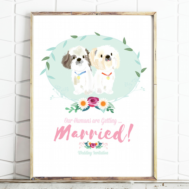 Custom Wedding Illustration - Wedding Invite  - Personalised Pet Drawing