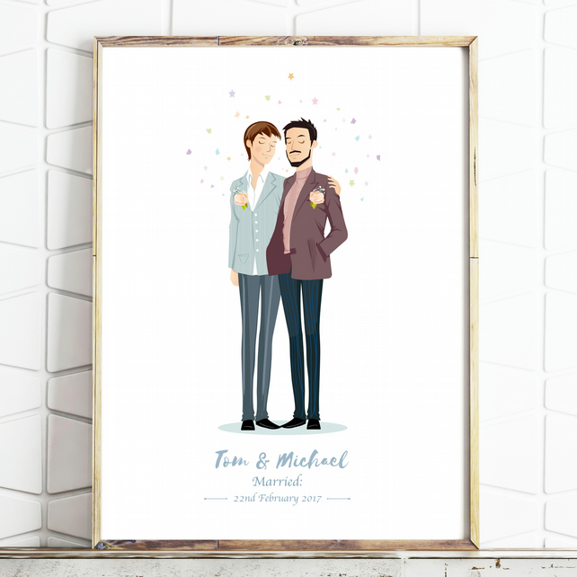 Personalised Civil Ceremony Portrait - Custom Couple Drawing - Wedding Gift