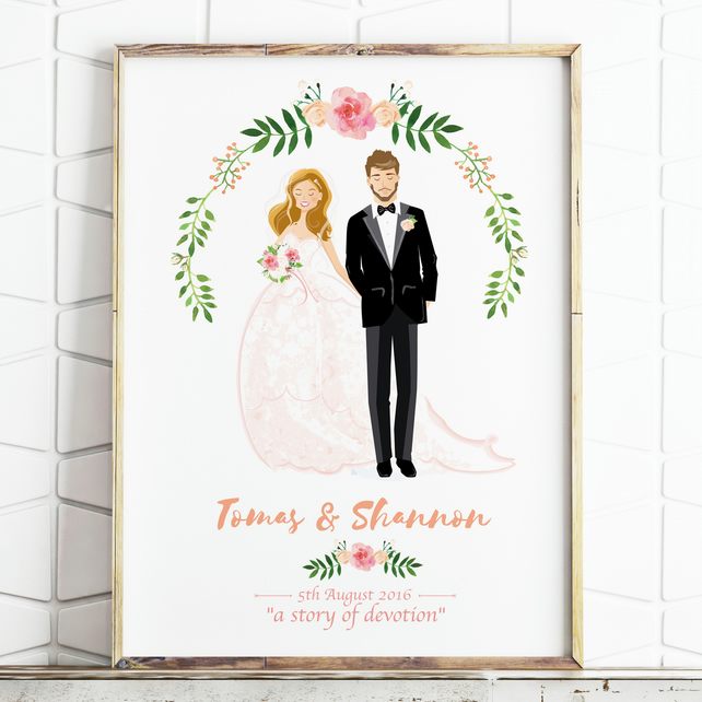 Personalised Wedding Portrait - Custom Couple Drawing - Illustrated Wedding Gift