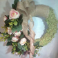Hessian and peony wreath with large bow