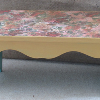 Upcycled foot stool ,decoupaged top in floral design, base painted in a gold was