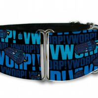 Martingale dog collar in DR WHO text blue print