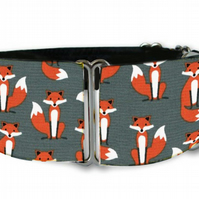 "Martingale dog collar in mini grey foxes 1.5"" OR 2"""