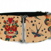 "Martingale dog collar in tattoo print sailor style 1.5"" OR 2"""