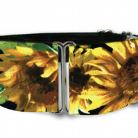 "Martingale dog collar in summer sunflowers 1.5"" OR 2"""