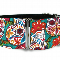 "Martingale dog collar in day of the dead sugar skulls 1.5"" OR 2"""