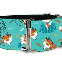 "Martingale dog collar in tribal foxes blue 1.5"" OR 2"""