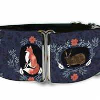 "Martingale dog collar in  fox tail critters woodlands 1.5"" OR 2"""
