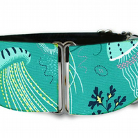 "Martingale dog collar in deep sea jelly fish 1.5"" OR 2"""
