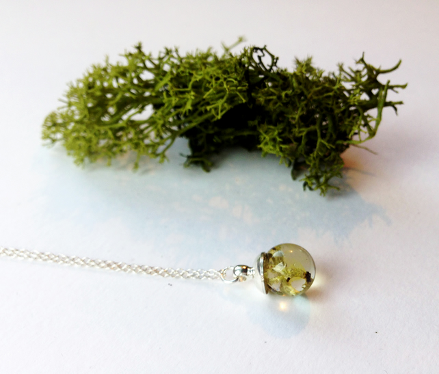 Tiny 10mm Lichen Resin Sphere on Sterling Silver Chain