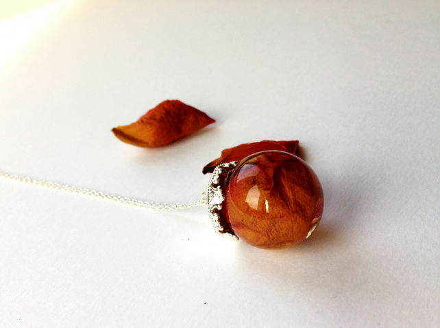 Dried rose petals resin sphere necklace sterling silver
